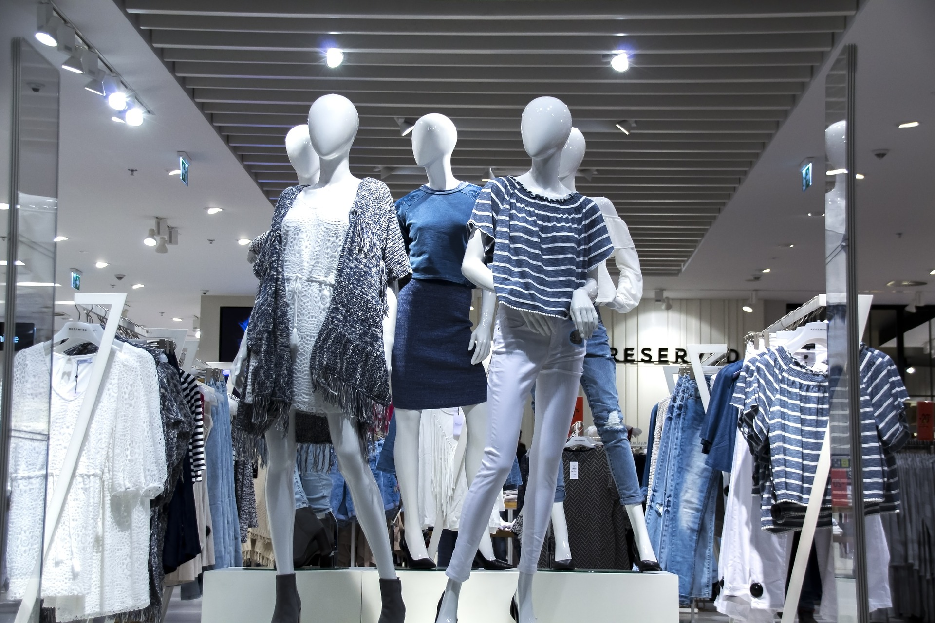 mannequins wearing clothes at mall