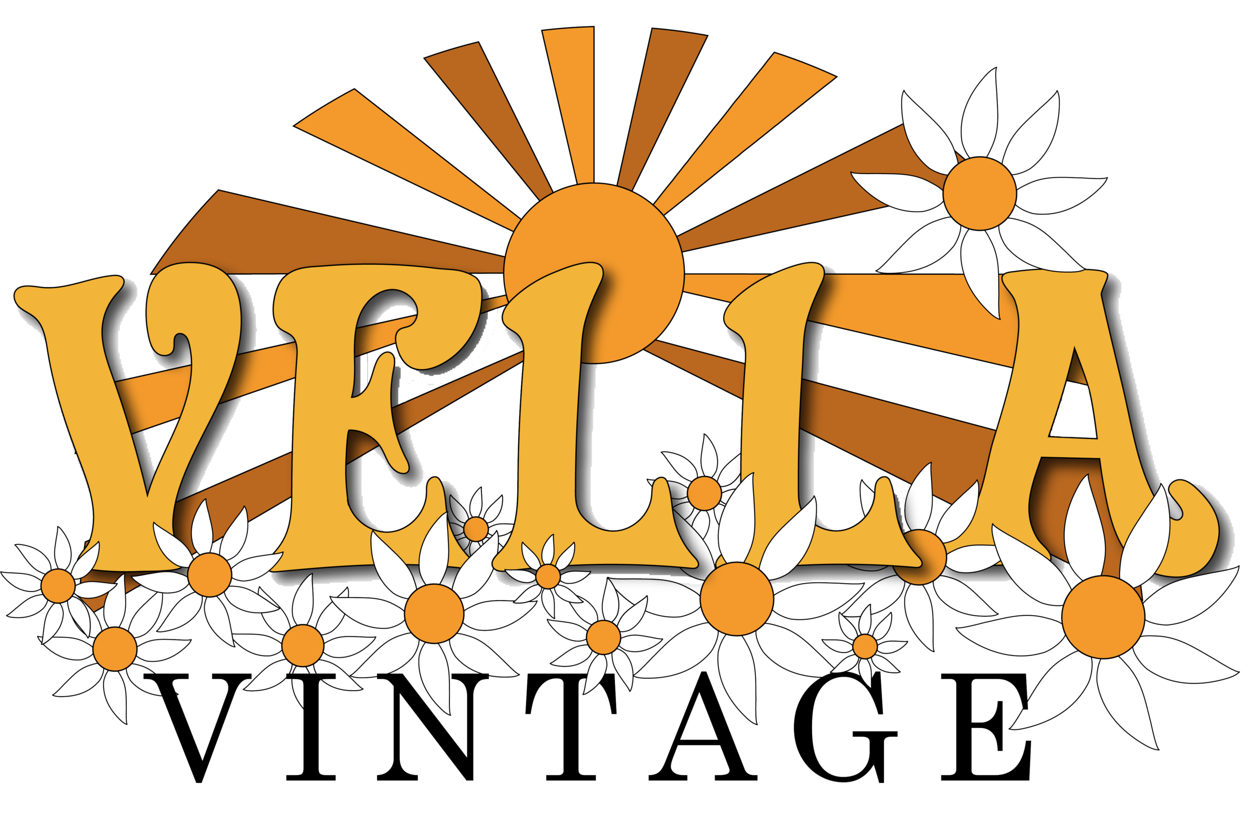 "sunset and flowers with words ""vella vintage"""