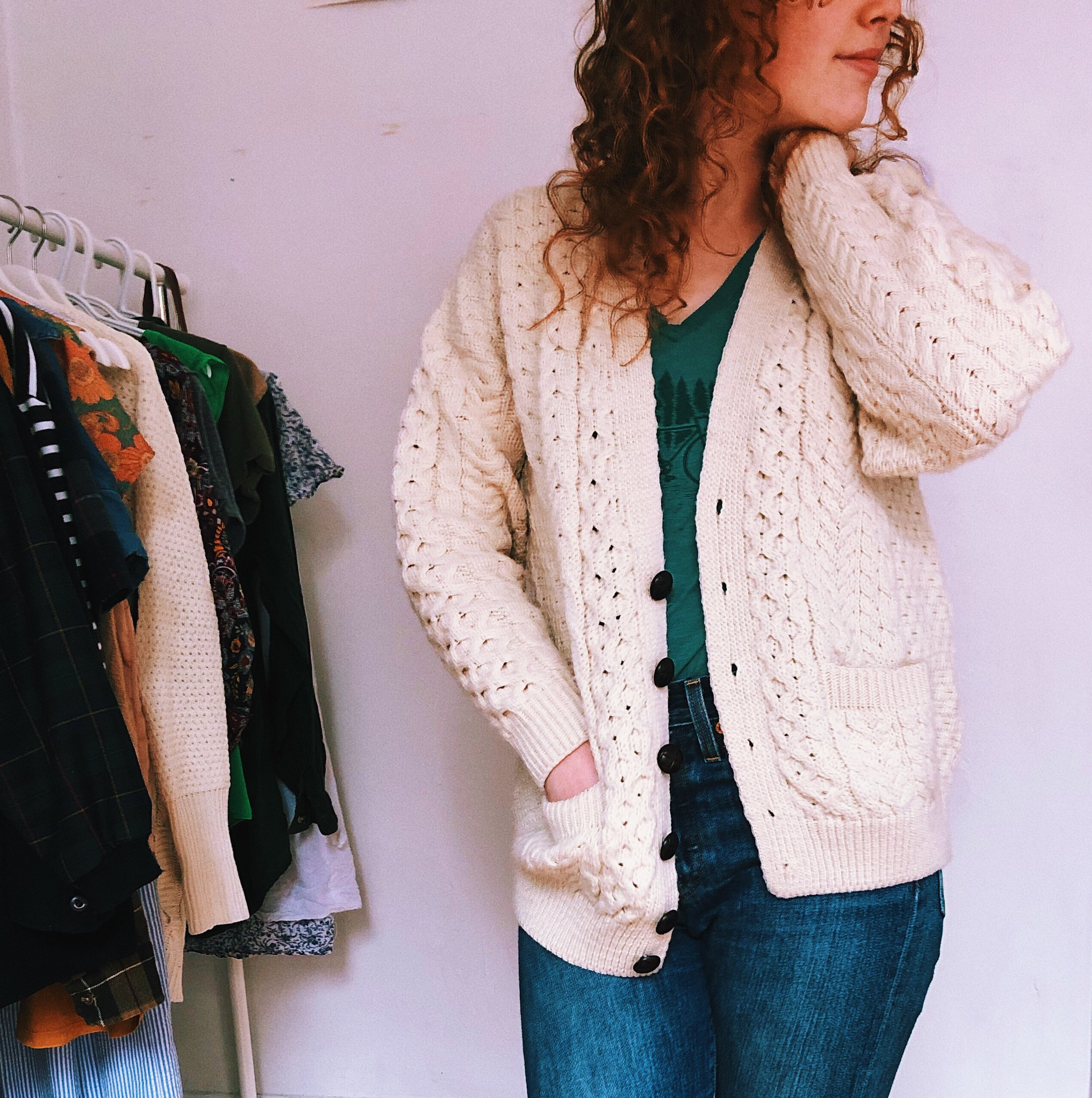 girl wearing cardigan