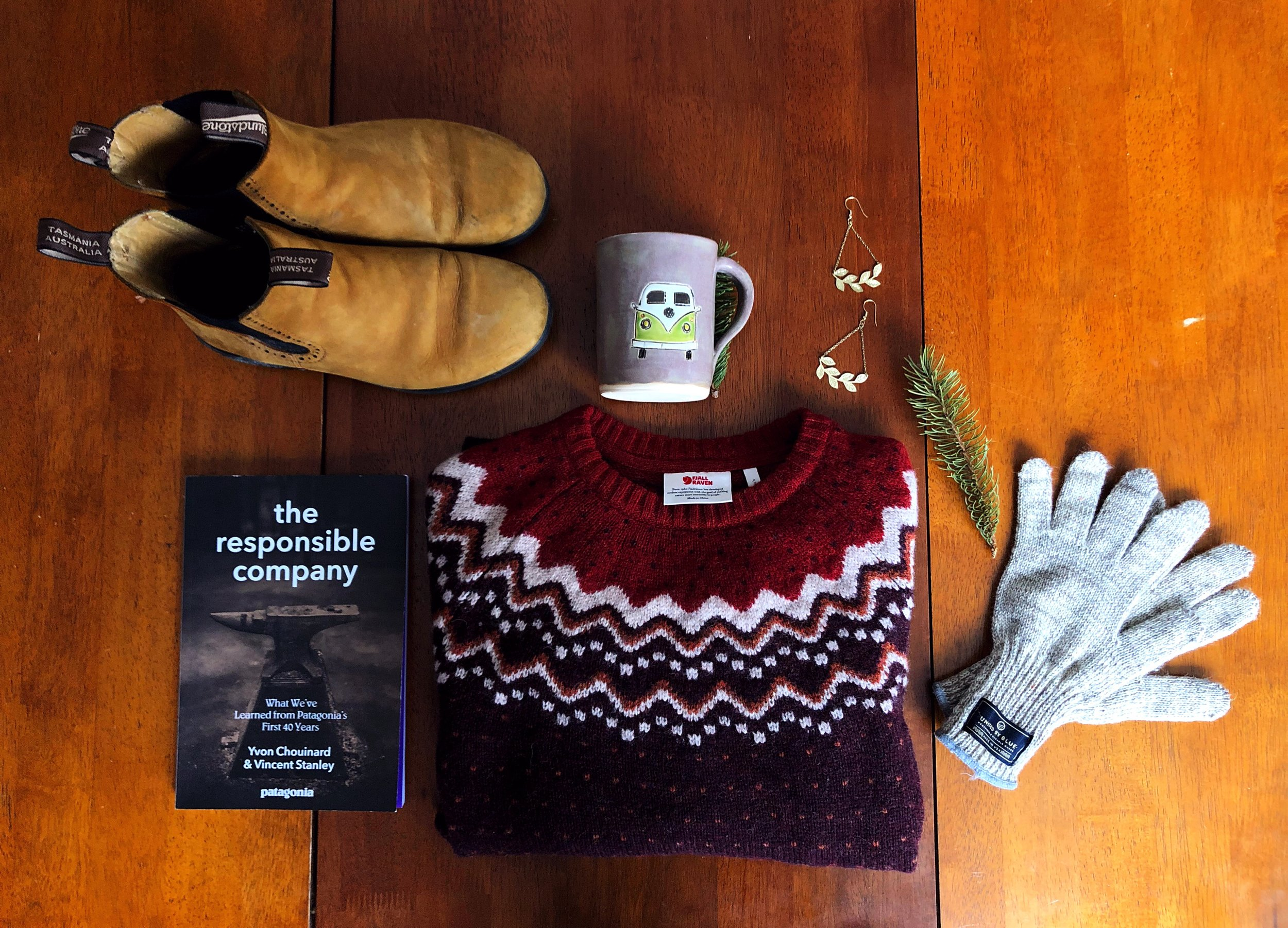 flatlay of winter clothes