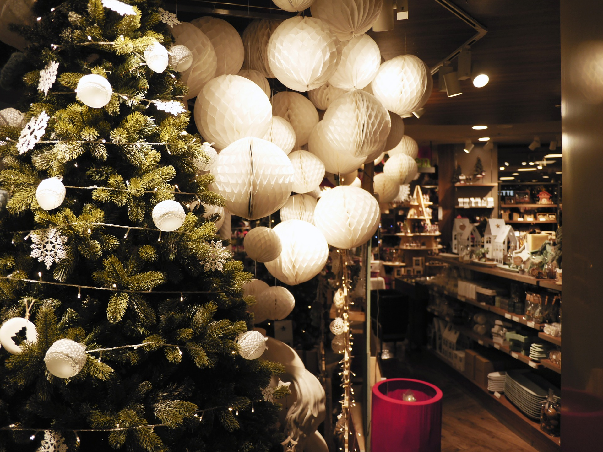 picture of christmas store with tree, lights, and other decorations