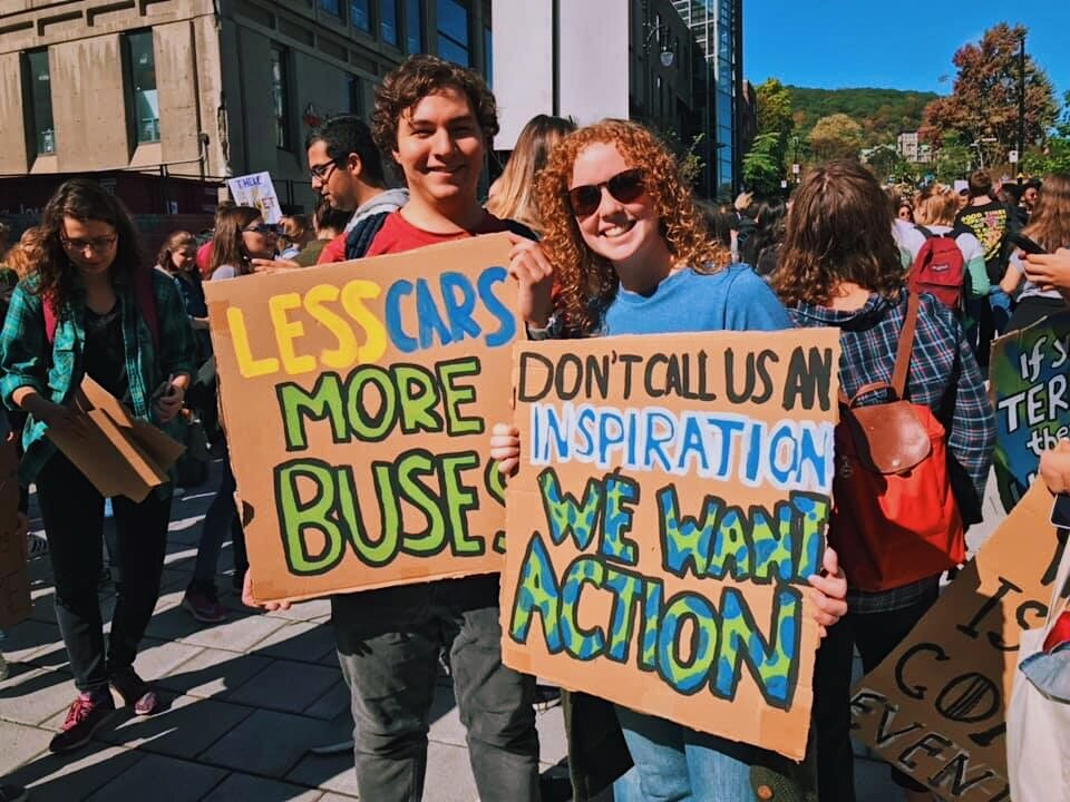 Our protest signs from the Montreal Climate Strike in September  (which over 500,000 people showed up for!)