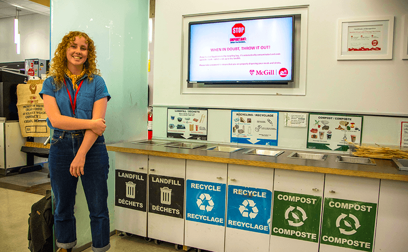 Me working as a Waste Educator in McGill University's dining halls, courtesy of  this  article!