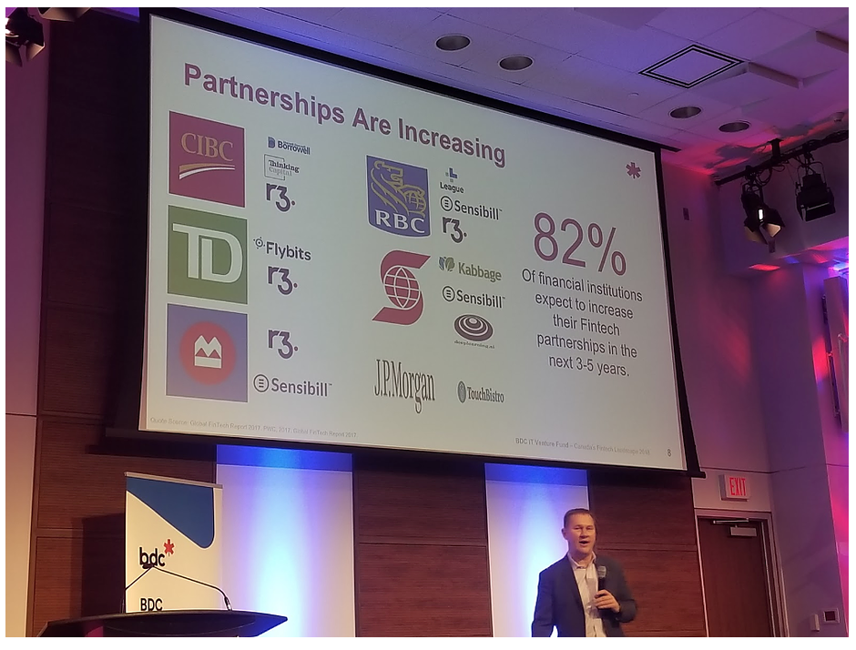 Peter presenting facts related to Canadian Finance and Fintech Ecosystem