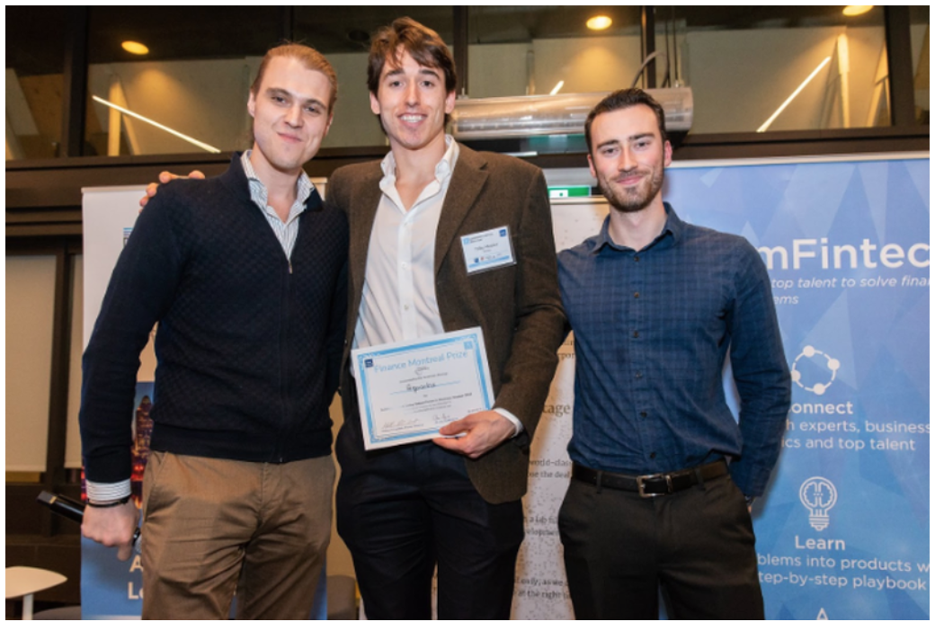 Mathieu Lambert, Digital Marketing Lead and Fintech Consultant at Finance Montreal (left) presenting his award to co-founders of Aquantix, Toby Messier (centre) and Steven Fortier (right)