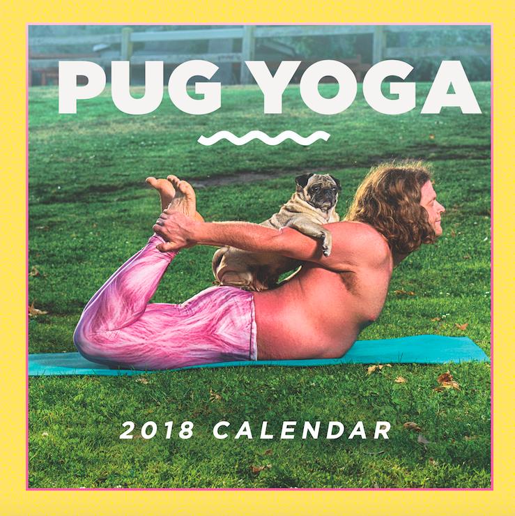 pug yoga calendar cover