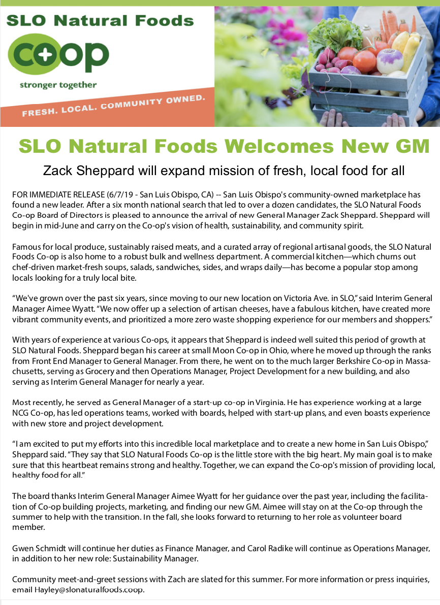 Meet New General Manager Zack Sheppard Slo Food Co Op
