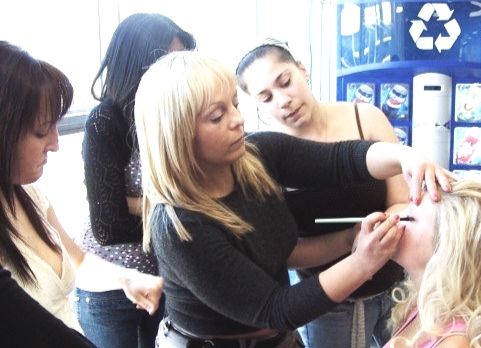 Master Makeup Class on location…sporting blonde hair here. I love changing it up!