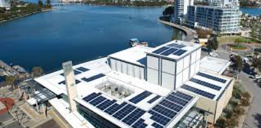 100kW of grid-connected solar PV - The Mandurah Performing Arts Centre solar solution met Western Power's grid connection requirements by integrating a reverse power protection system to prevent the system feeding power into the grid.The solution was optimised using shading analysis to provide panel layouts to suit the complex roof geometry at the site whilst minimising panel shading.Location: Mandurah, WA