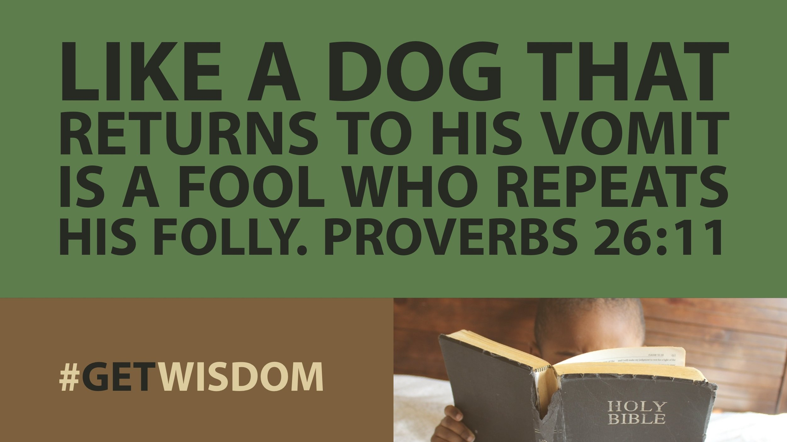 #GetWisdom 026. Don't Eat Your Own Vomit! That's Good Advice. Proclaim Ministries, Get Wisdom #getwisdom, Proverbs 31 Days of Wisdom Mister Brown Bible Teaching Teaching on Proverbs