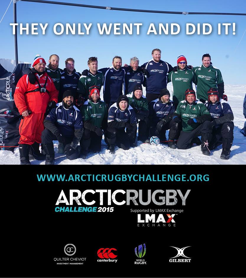 NORTH POLE: Julian Phelan (bottom row second from right) after setting the World Record for 'the most northerly game of rugby ever played.'