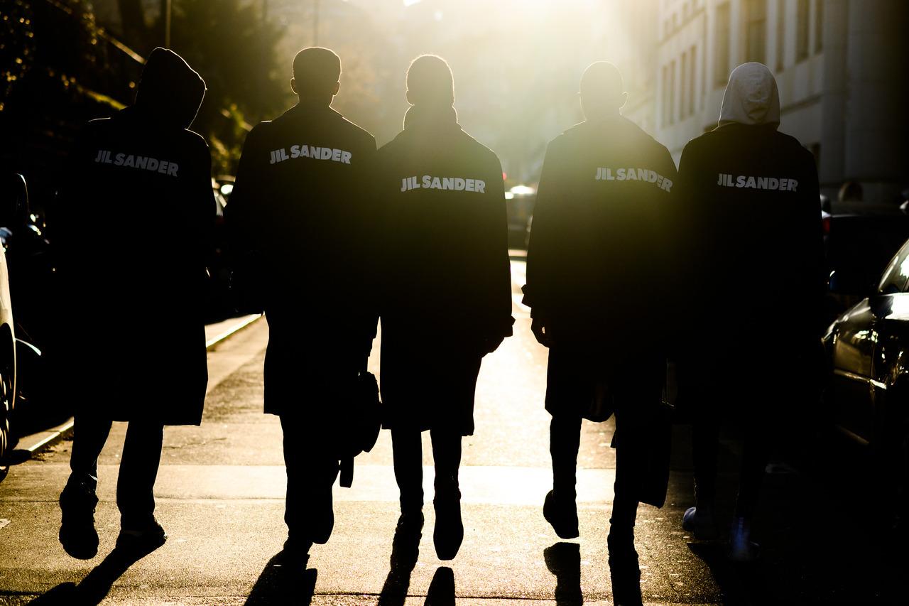 Models walking the streets - Paris, France