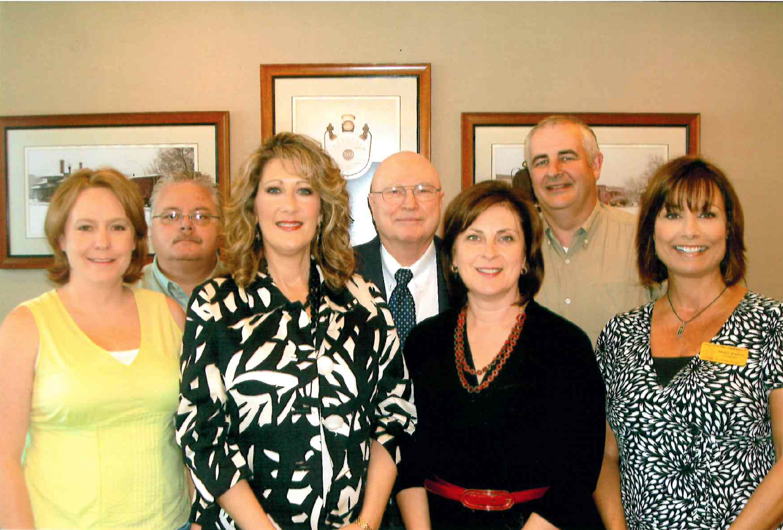 Front row: Carrie Hutchinson, Kassandra Newman, Jill Horner, and Nancy Dalton. Back row: Pastor Eddie Turner, Rev. Jim Rogers, and Dr. Mark Loftis.