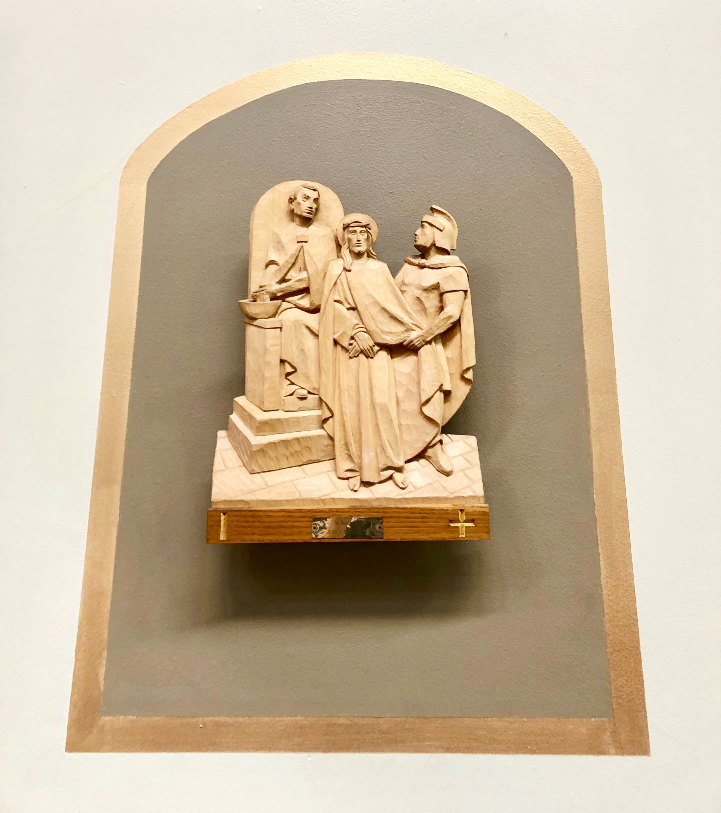 Copy of Wooden Station of the Cross, Jesus Cruifixion, St Joseph's Catholic Church, Capitola, California, Lanzini