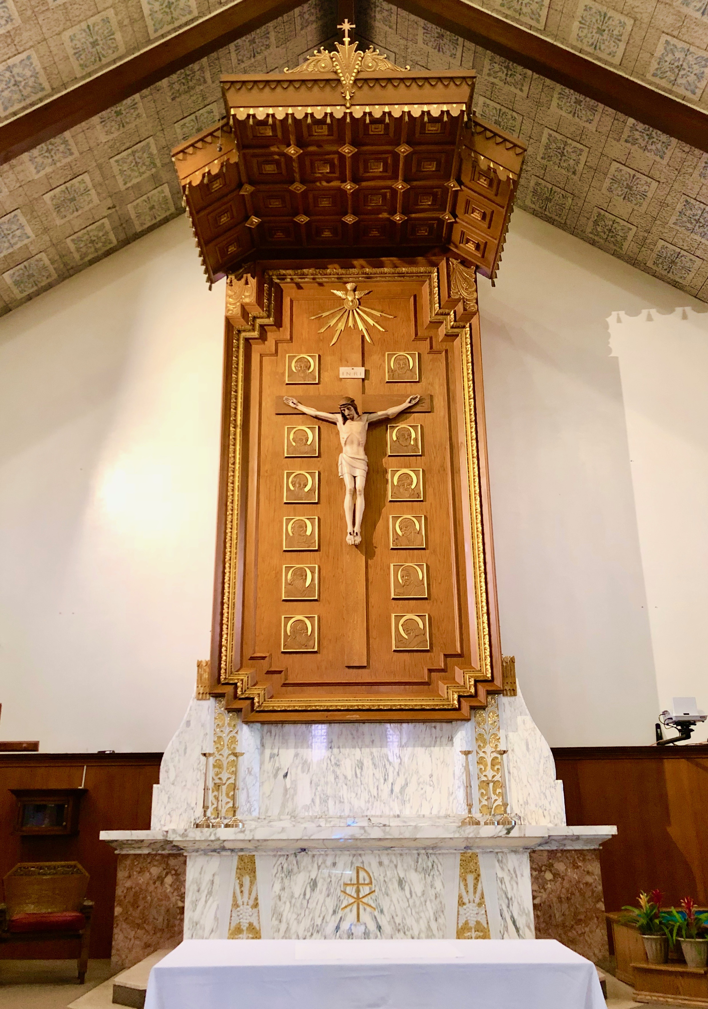 Crucifix Reredos Design, Gilded Marble altar, Our Lady of Refuge Catholic Church, Castroville, California Lanzini.jpeg