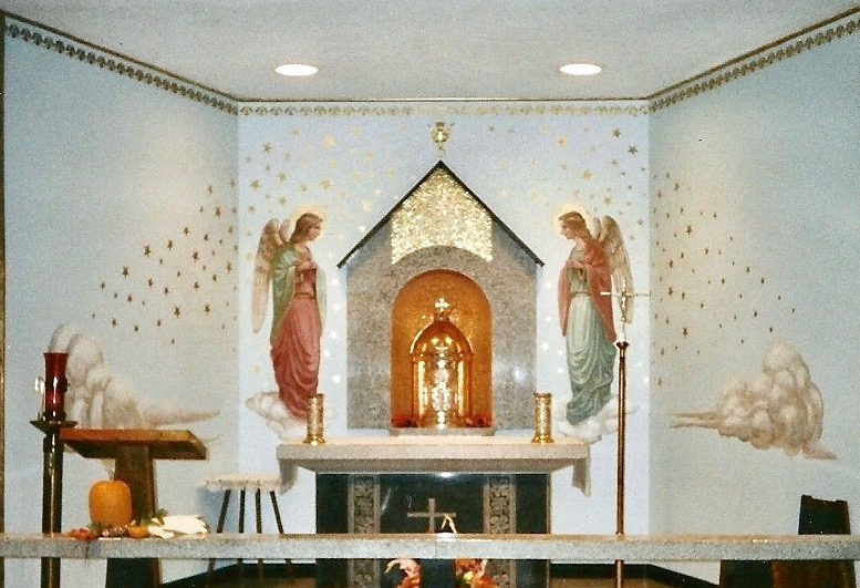 Tabernacle Mosaic Niche, Design Angel Murals, Our Lady of Miracles Catholic Church, Gustine, California, Lanzini