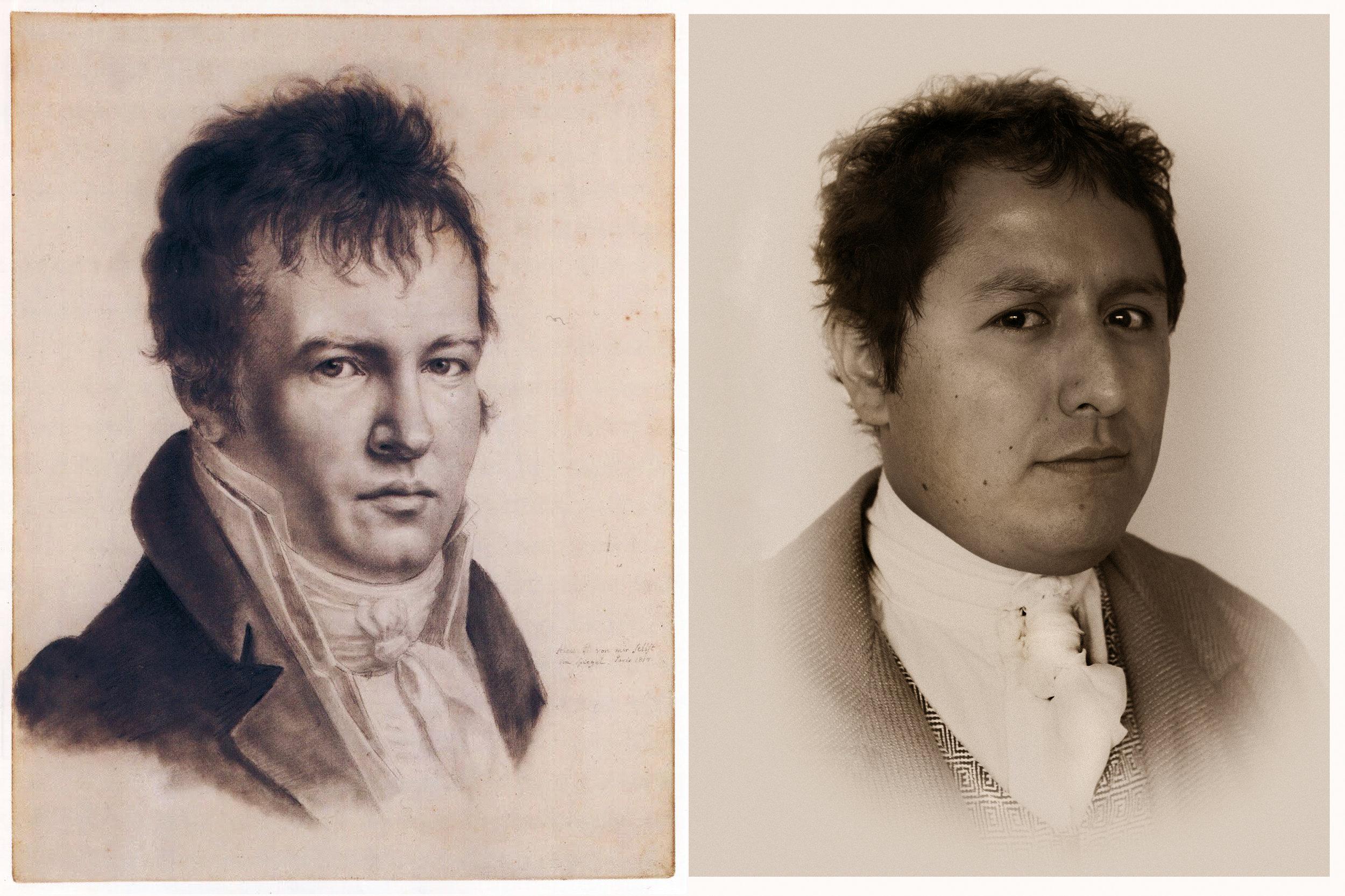 Alexandre de Humboldt,  Autoretrato , 1814, París. ©Winterstein Collection.  Fabiano Kueva,  Retrato  por  Gonzalo Vargas M. , 2012, Quito. ©AAVH.