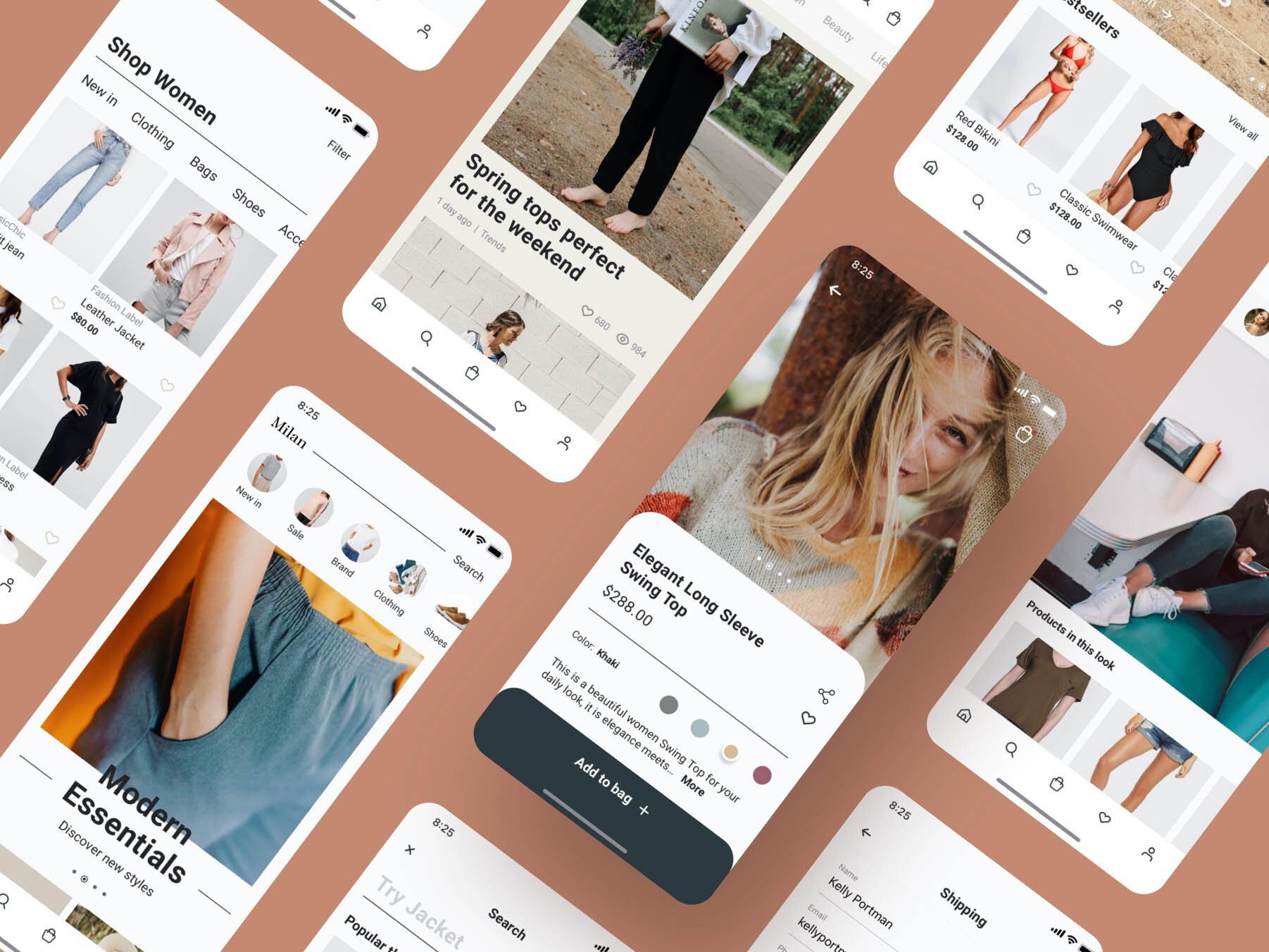 Milan Fashion App Ui Kit Design Fashion Shopping App Faster Interface Market