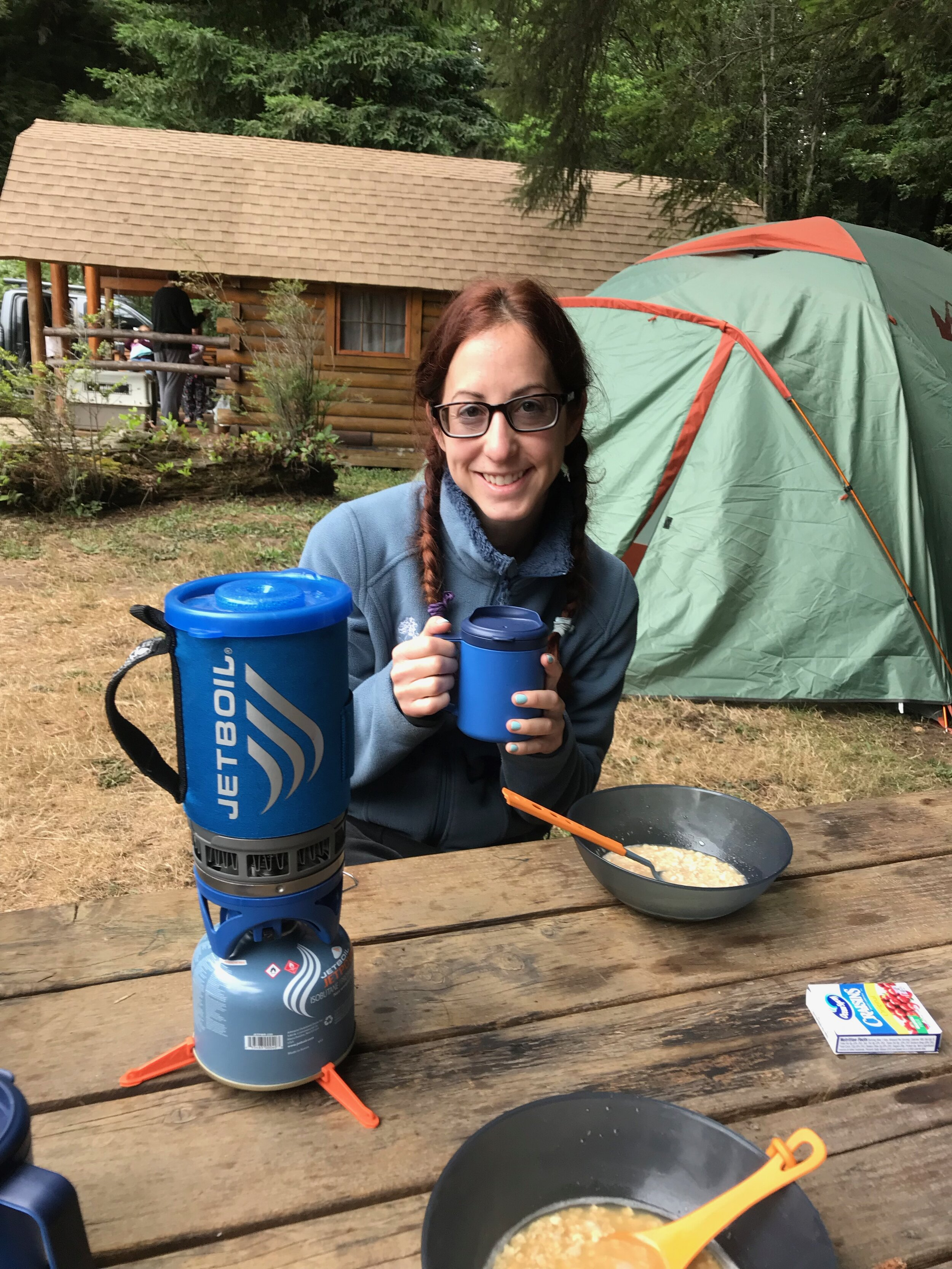 Coffee, oatmeal, and camping.