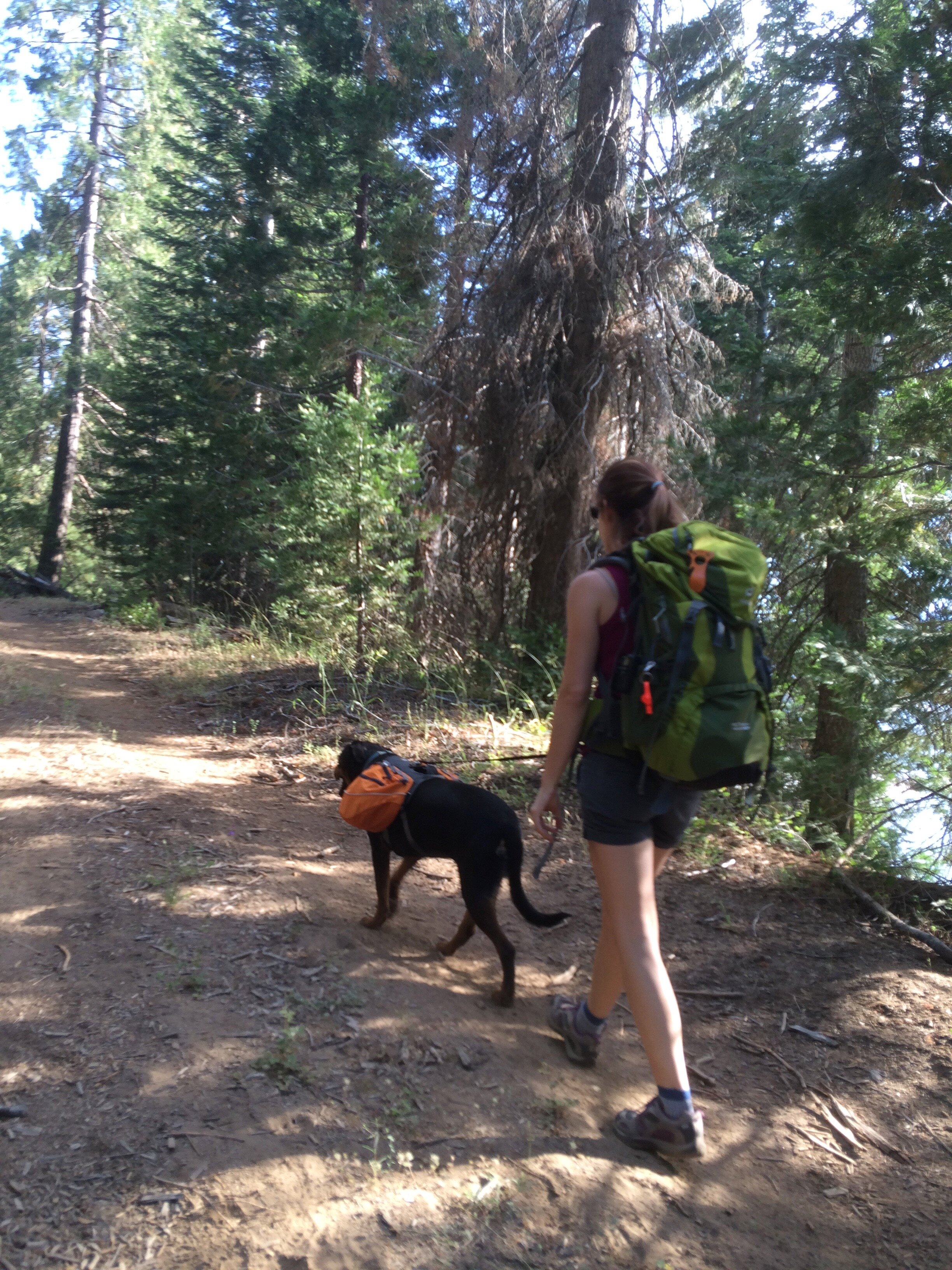Foss and I on a local hike with our packs