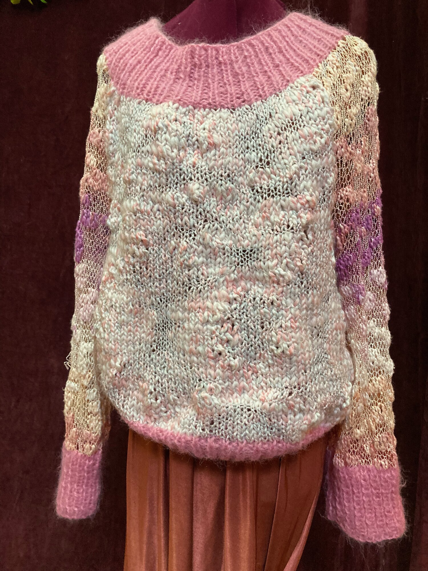 Vintage Chunky Knit Pink and Cream Sweater Size L