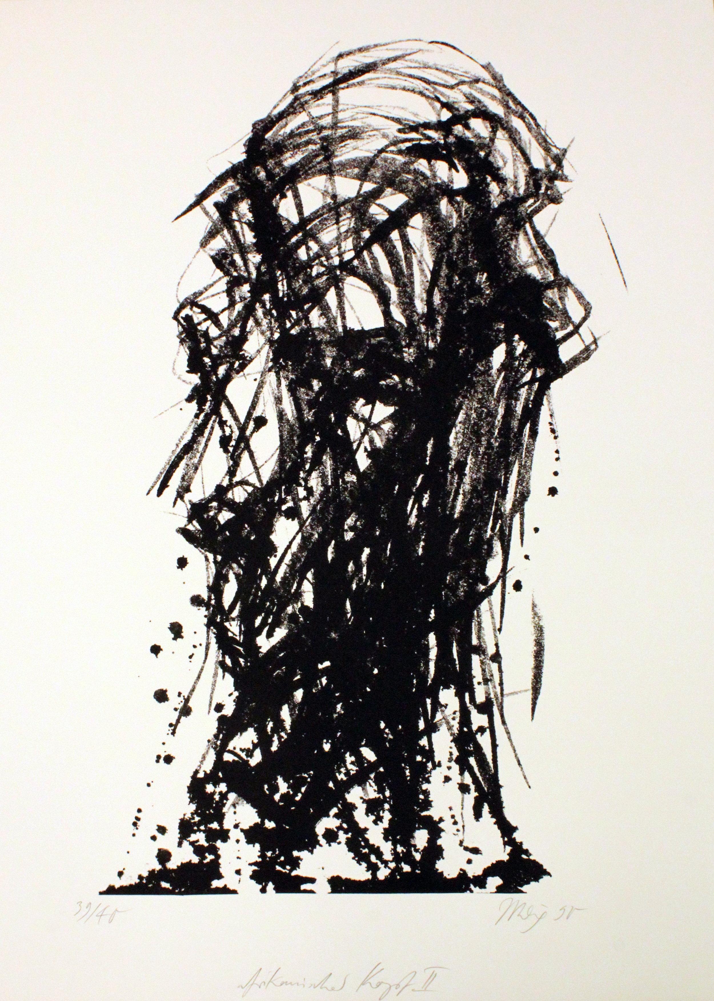 """Afrikanischer Kopf II"" Lithographie, 105,5x74 cm, 1990"