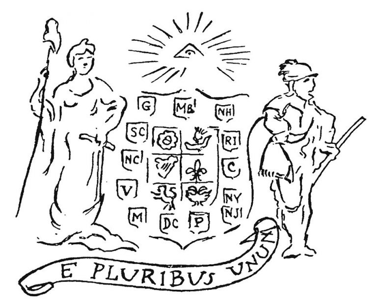 The first proposal sketch for the Great Seal of the United States, designed by Pierre Eugène Du Simitière in 1776.
