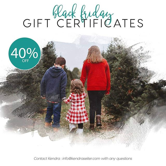 40% off of any amount of gift certificate purchased for 2019  These can be used for your : - Session fee (Storyteller – Signature – Simple – Lifestyle – Fresh 48 – Signature Newborn – Simple Newborn) - Digital Image Collections (Heirloom – Keepsake – Essential) - Additional Prints + Products - Art in Motion School of Dance parents can also purchase any amount and use that toward your purchase for the 2019 photo shoots.  Terms -------------- The Gift Certificates can not be used to pay for your Non – Refundable Session Retainer of $50.00 which is due to reserve your session, that is still due in full at booking.  Gift Certificates can not be used to purchase any additional Black Friday – Cyber Monday sale products, as they are already discounted. Gift Certificates expire December 31st 2019 – but are subject to scheduling. Please – book at least 2 months in advance, otherwise I cannot guarantee a date. Gift Certificates are not redeemable for cash. You will not have a printed copy unless you ask for one, please allow 48 hours for a copy to be emailed to you. Otherwise you will have a credit on your account for the amount of the Gift Certificates value.