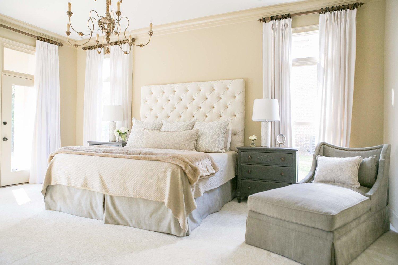 bedroom master bed carpet white