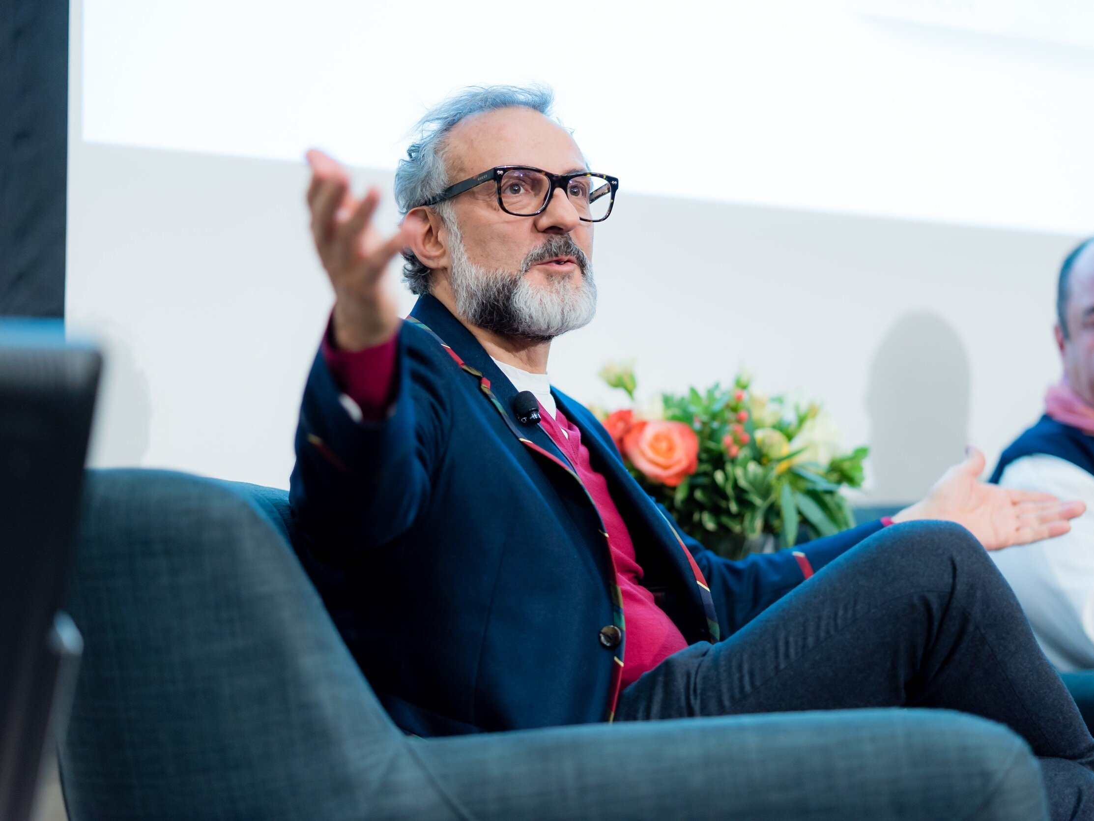 Three MIchelin Star Chef Massimo Bottura speaking at George Brown College's Centre for Hospitality & Culinary Arts