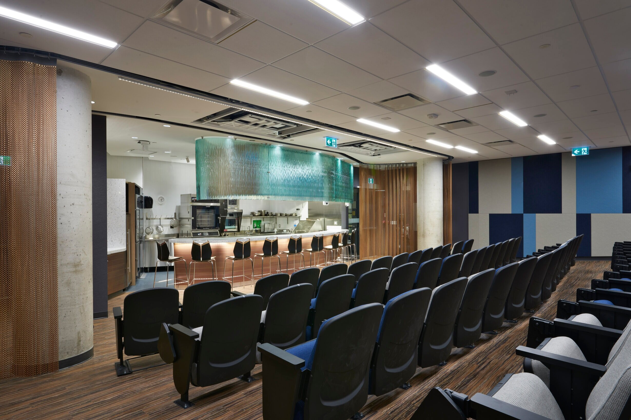 Side view of the Culinary Demonstration Theatre at the Centre for Hospitality & Culinary Arts at George Brown College