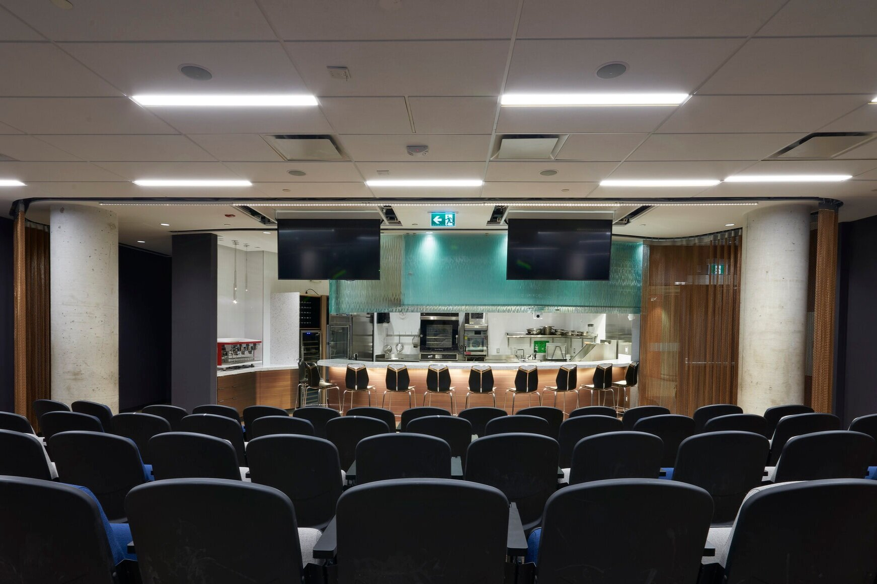 View from the seats in the Culinary Demonstration Theatre at the Centre for Hospitality & Culinary Arts at George Brown College