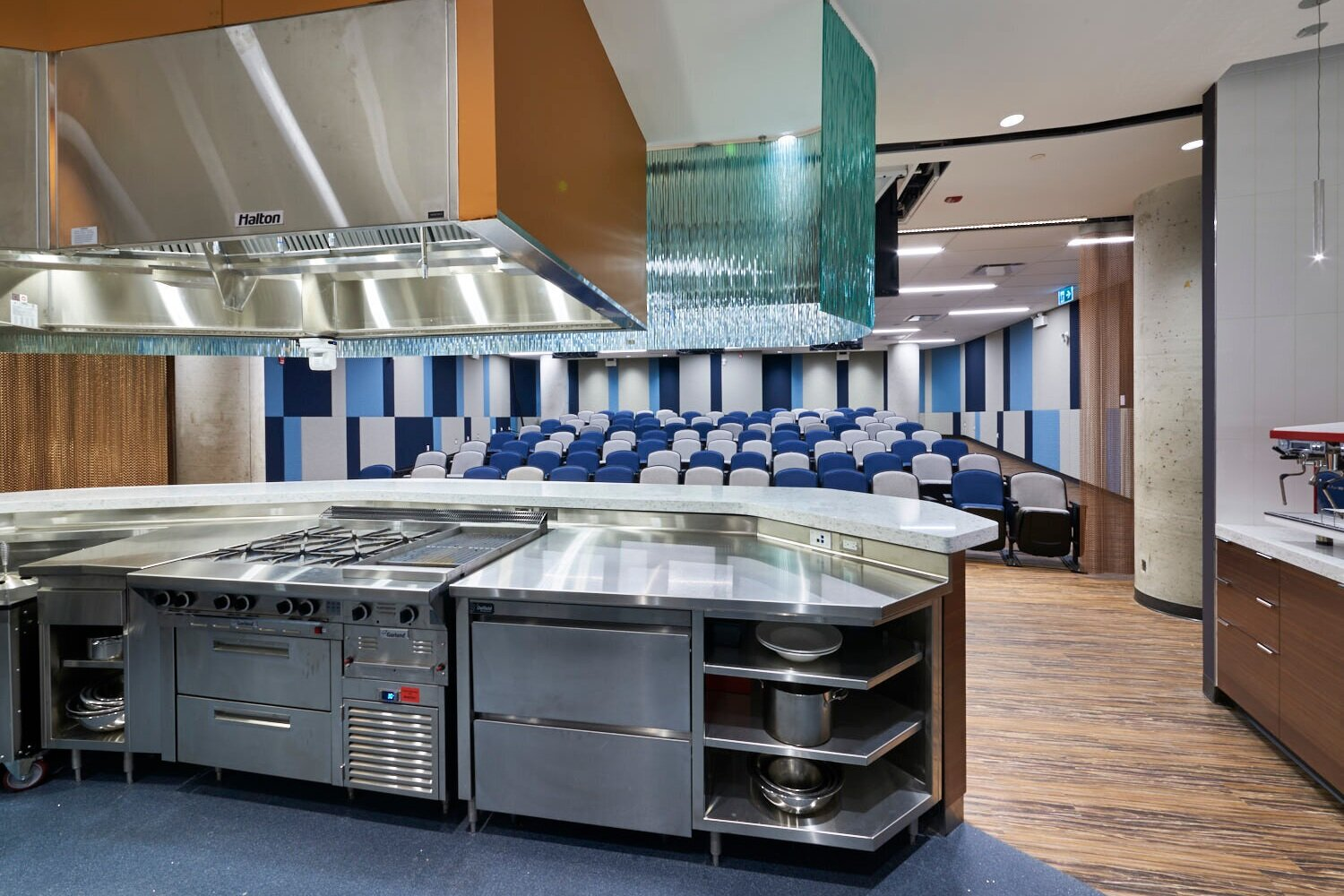 Alternate view of the kitchen in the Culinary Demonstration Theatre at the Centre for Hospitality & Culinary Arts at George Brown College