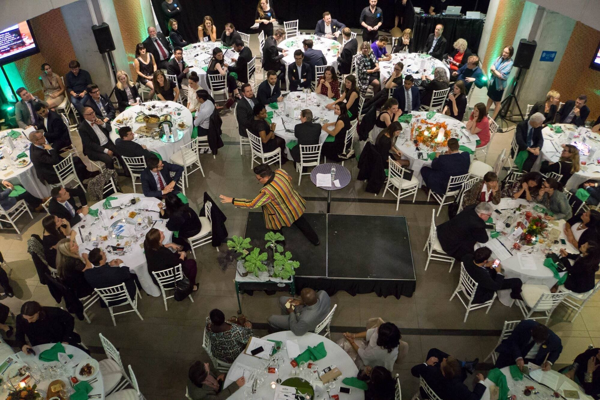 A charity gala taking place in the Atrium Event Space at the Centre for Hospitality & Culinary Arts at George Brown College