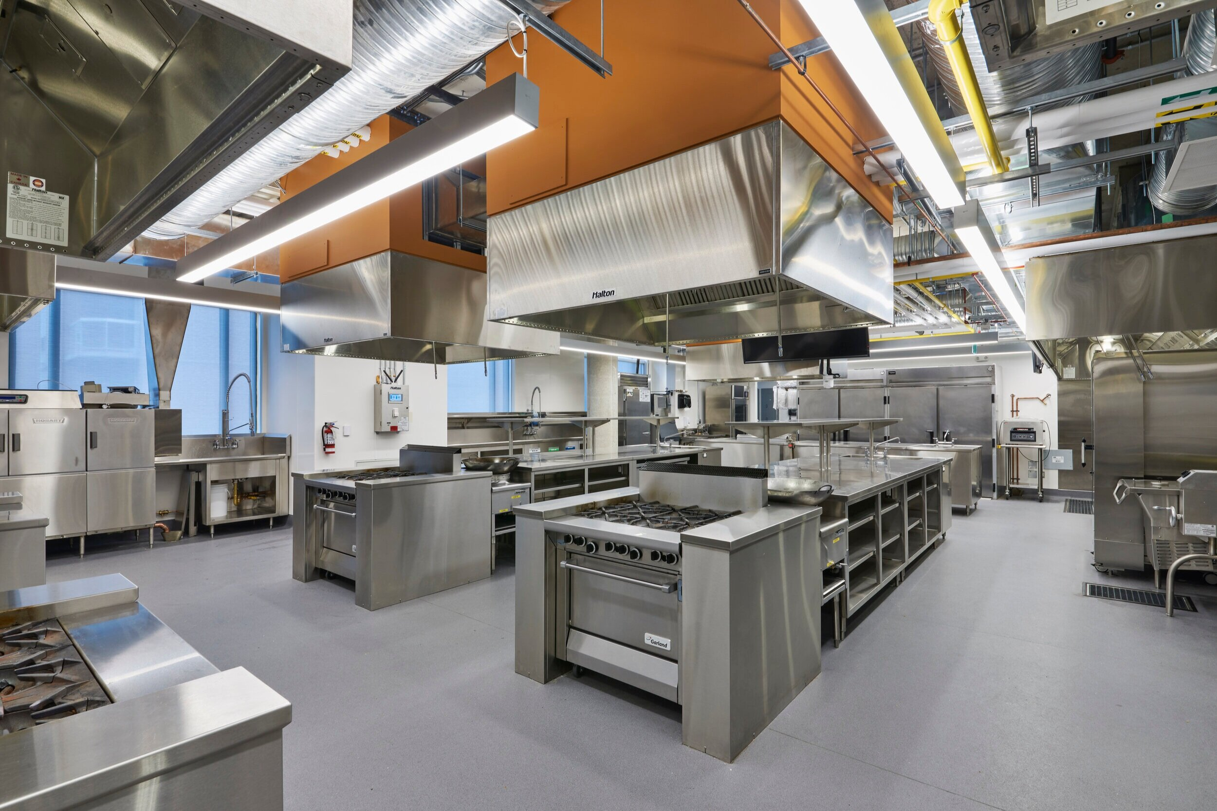 Third alternate view of a Culinary Kitchen Lab at the Centre for Hospitality & Culinary Arts at George Brown College