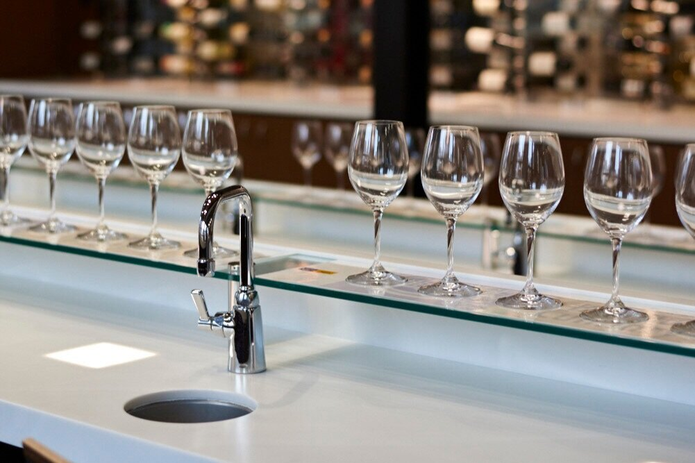 Close-up view of a tasting station in the Food & Beverage Tasting Theatre at the Centre for Hospitality & Culinary Arts at George Brown College