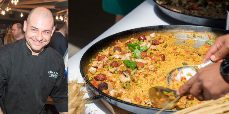 Chef Mariano Fernandez. A dish of paella being served.