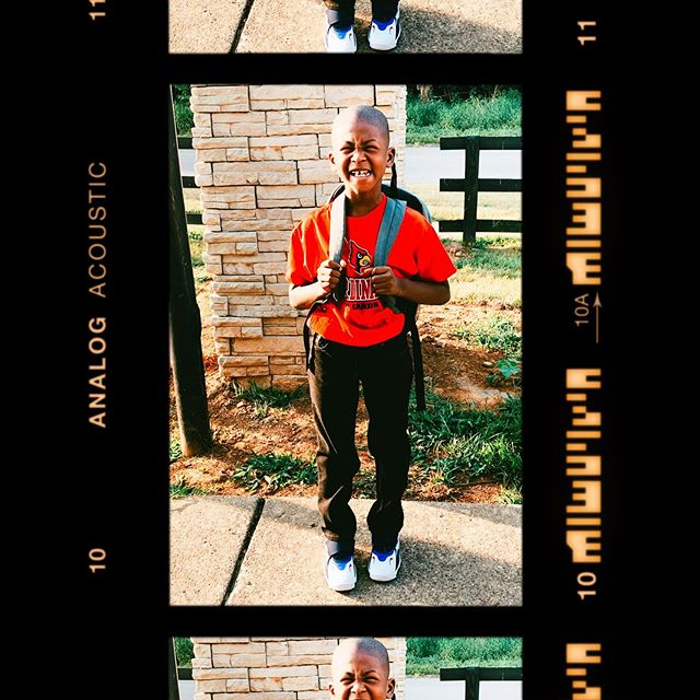 The whole squinting eye smile thing kills me, but whatever lil baby first day fresh #kingjahlil #firstdayofschool