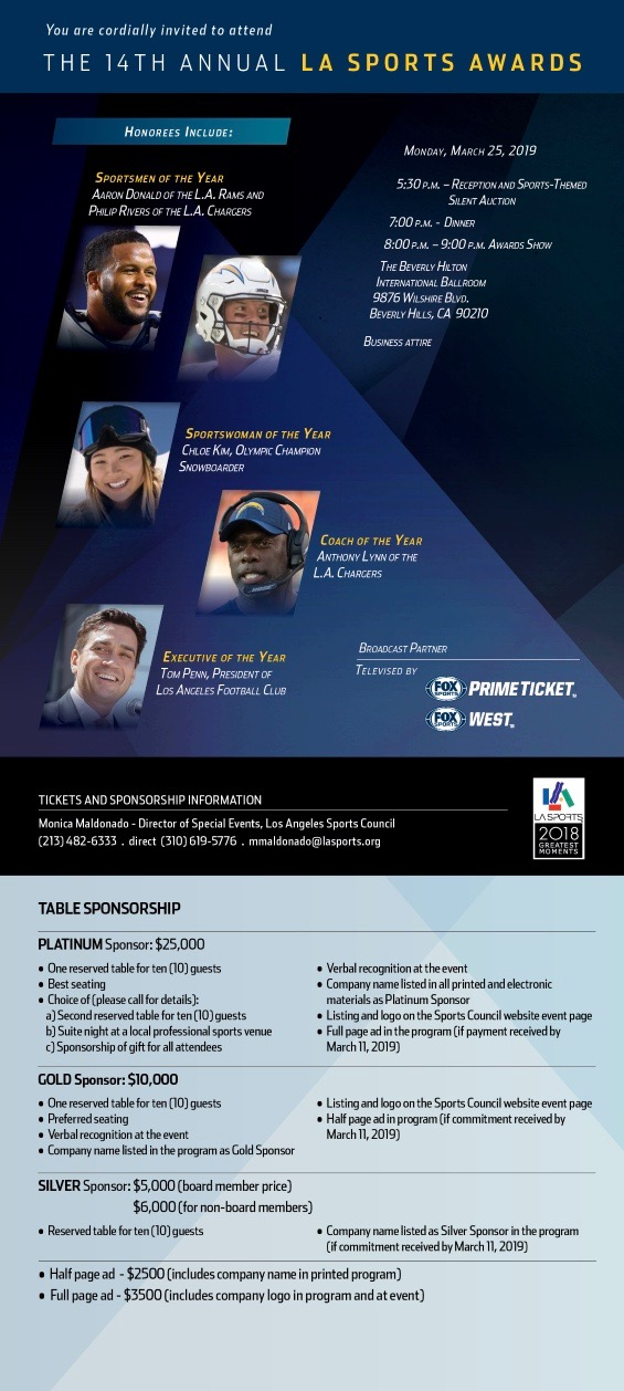 The 14th Annual La Sports Awards Tickets Sponsorship Information Los Angeles Sports Council