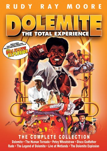 DOLEMITE: THE TOTAL EXPERIENCE - 8 DVD BOXED SETIncludes unremastered DVDs of:DOLEMITEHUMAN TORNADOPETEY WHEATSTRAWDISCO GODFATHERRUDE (Moore's stand-up comedy film)*LIVE AT WETLANDS (Live vocal performance)*LEGEND OF DOLEMITE: BIGGER AND BADDER (Documentary on Moore's career)*DOLEMITE EXPLOSION (Moore's final film)*(NOTES: It's highly recommended to pick up the remastered Blu-ray / DVD releases above. Purchasing this to supplement those releases is a great and inexpensive way to see these other films (*) - Currently, Moore's final film, DOLEMITE EXPLOSION, is only available in this set)