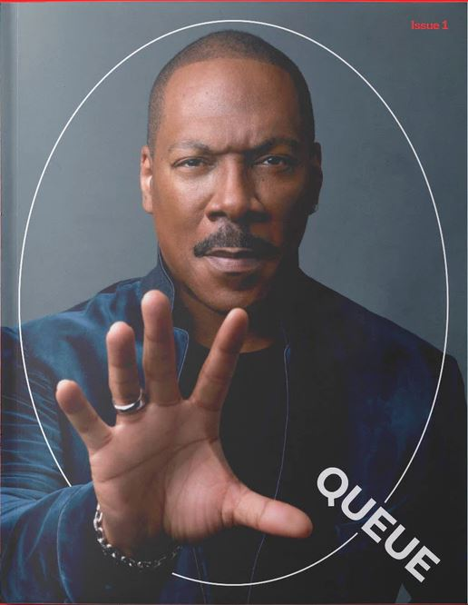 Eddie Murphy on the cover of issue #1 of Netflix's QUEUE magazine.