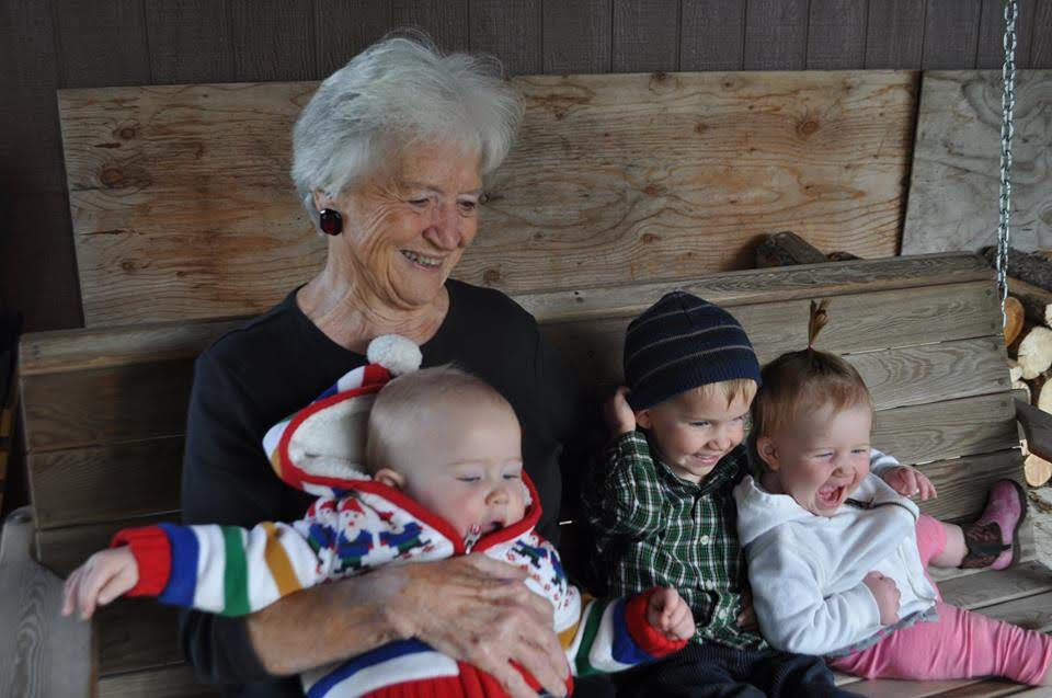 Darlene with great-grand kids Finn, Holter, and Maya.