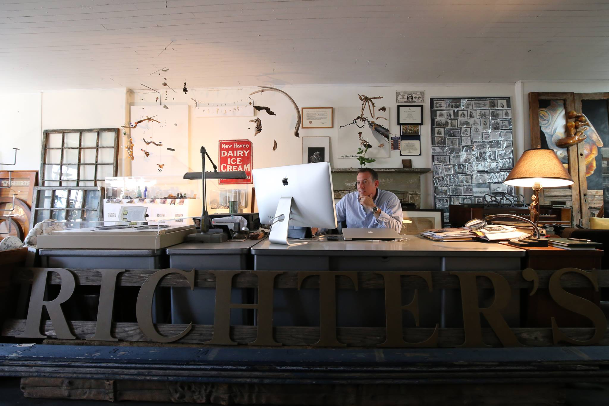 The artist in his original studio workspace at the historic ACME building.