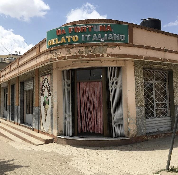 A famous gelato shop in Eritrea that was built during Italian rule.