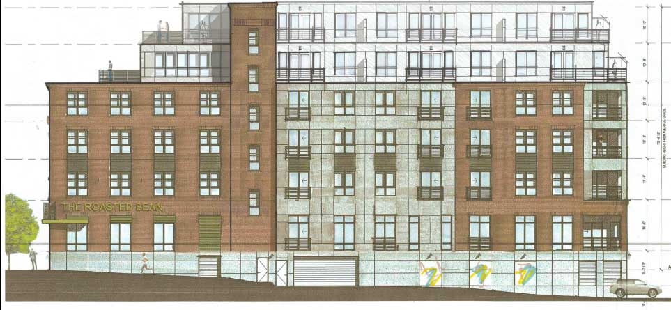 The Park St. side of the current plan (8/28 revision). This would be the view from the train platform.