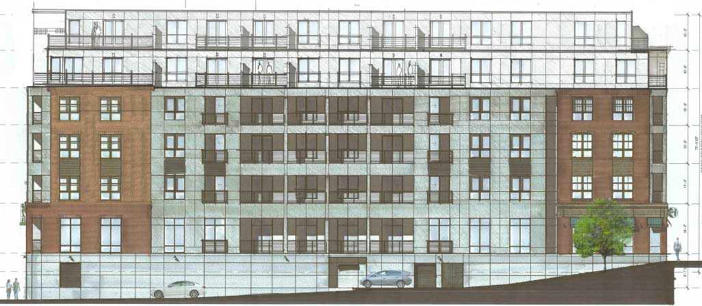 The Pleasant St. side (8/28 revision). This is what residents of Depot Square Condos (Depot I) will see.