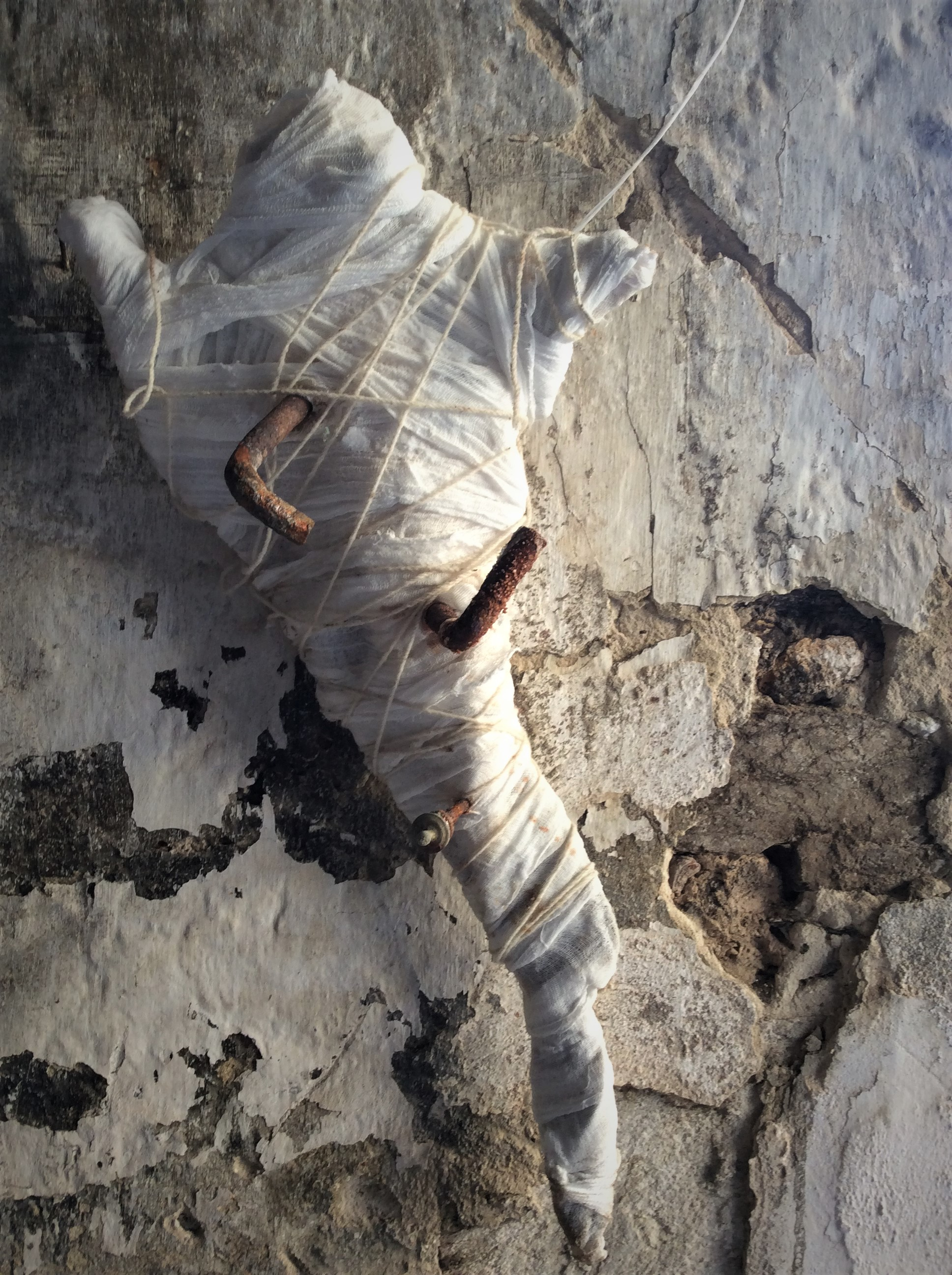 2. Untitled, 2017, Salt, muslin, string, iron, iron flakes, dimensions 84cm x 42cm Image Gail Hocking.JPG