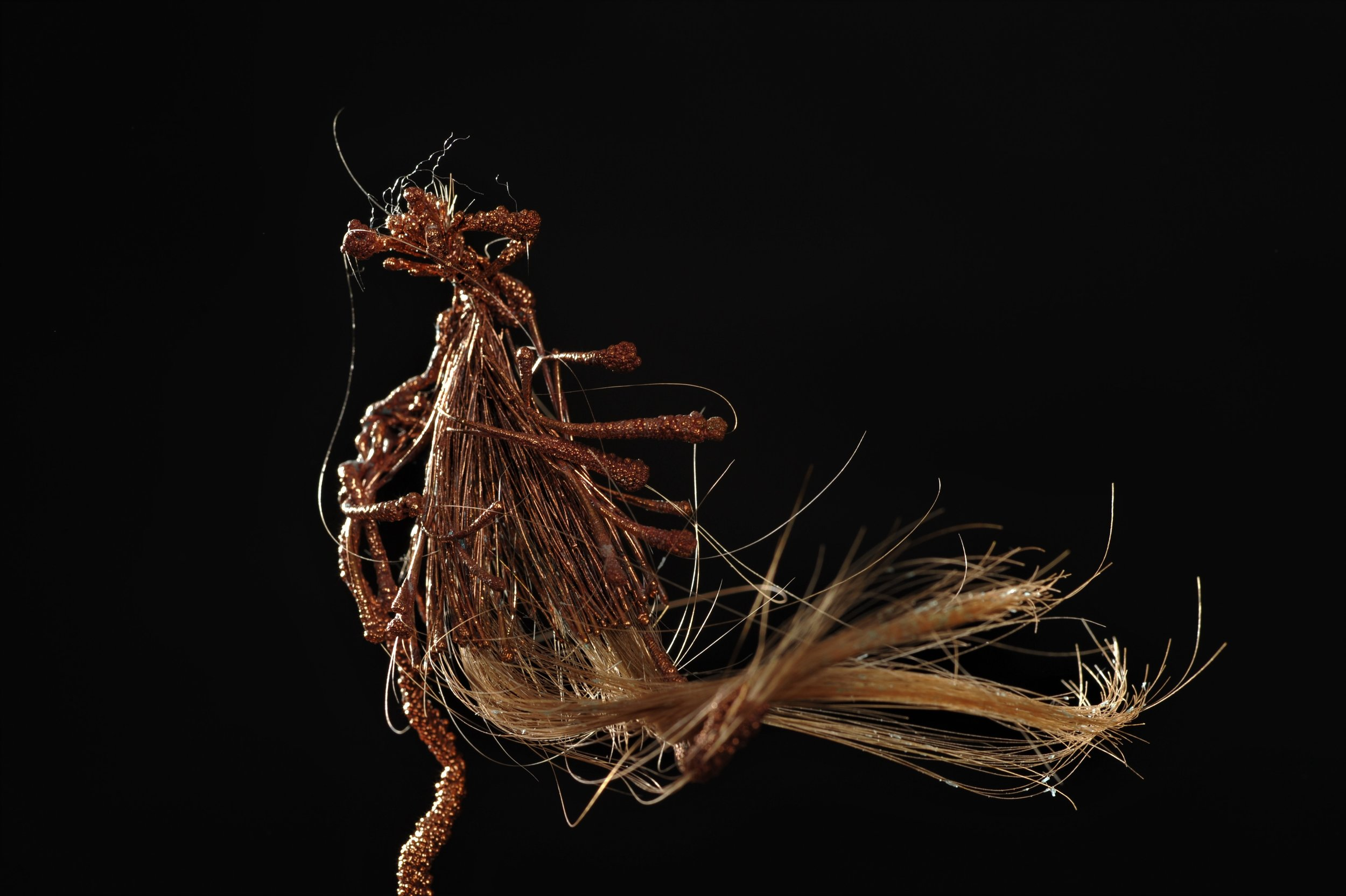 2. Transmuted State of Being 1-1, 2016. Dimensions 10 cm x 4 cm_ copper electrodeposition, artist's hair. Image Credit Nu Image.JPG