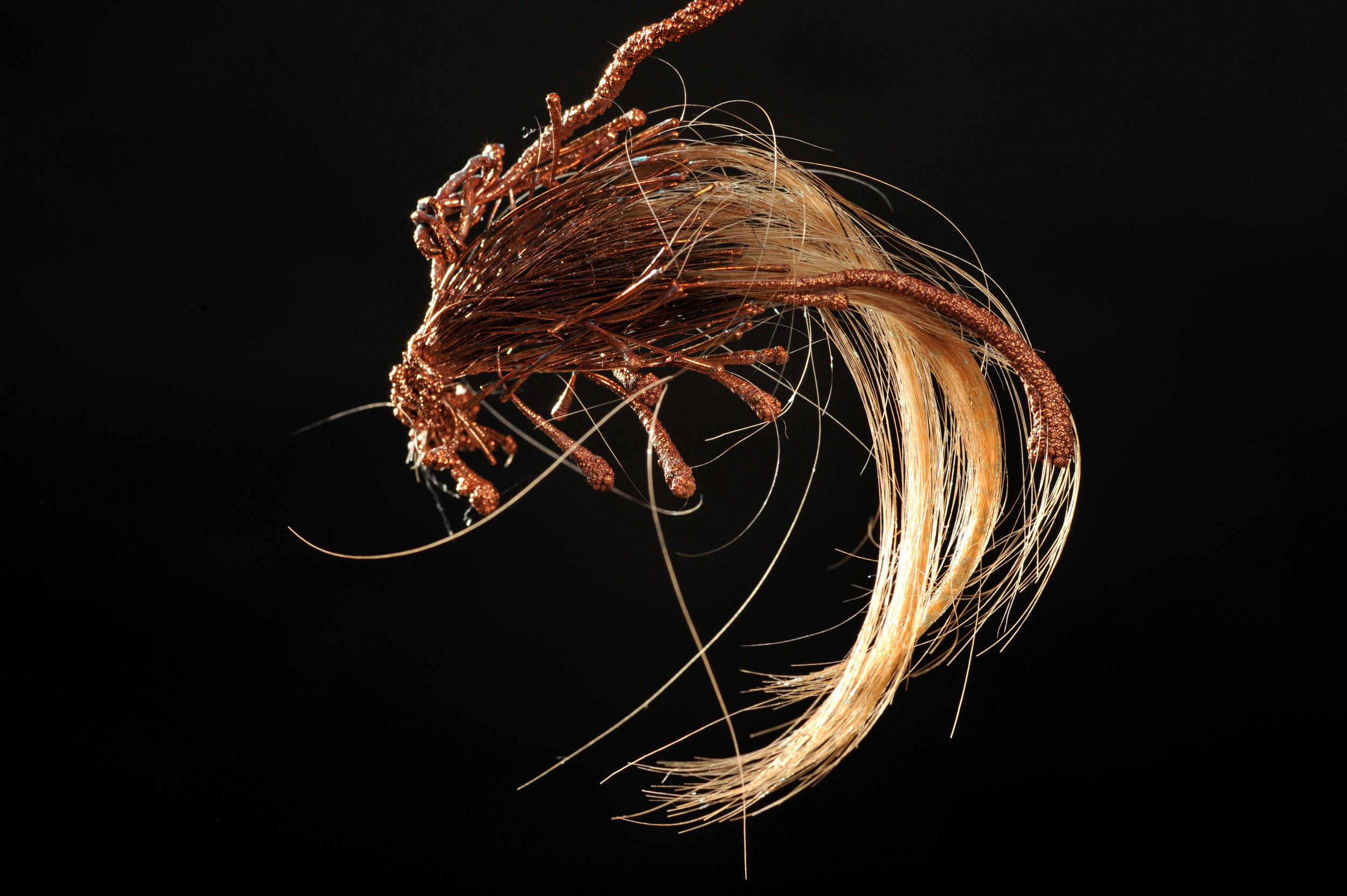 7 Transmuted State of Being 1-4, 2016. Dimensions 10 cm x 4 cm_ copper electrodeposition, artist's hair. Image Credit Nu Image.JPG