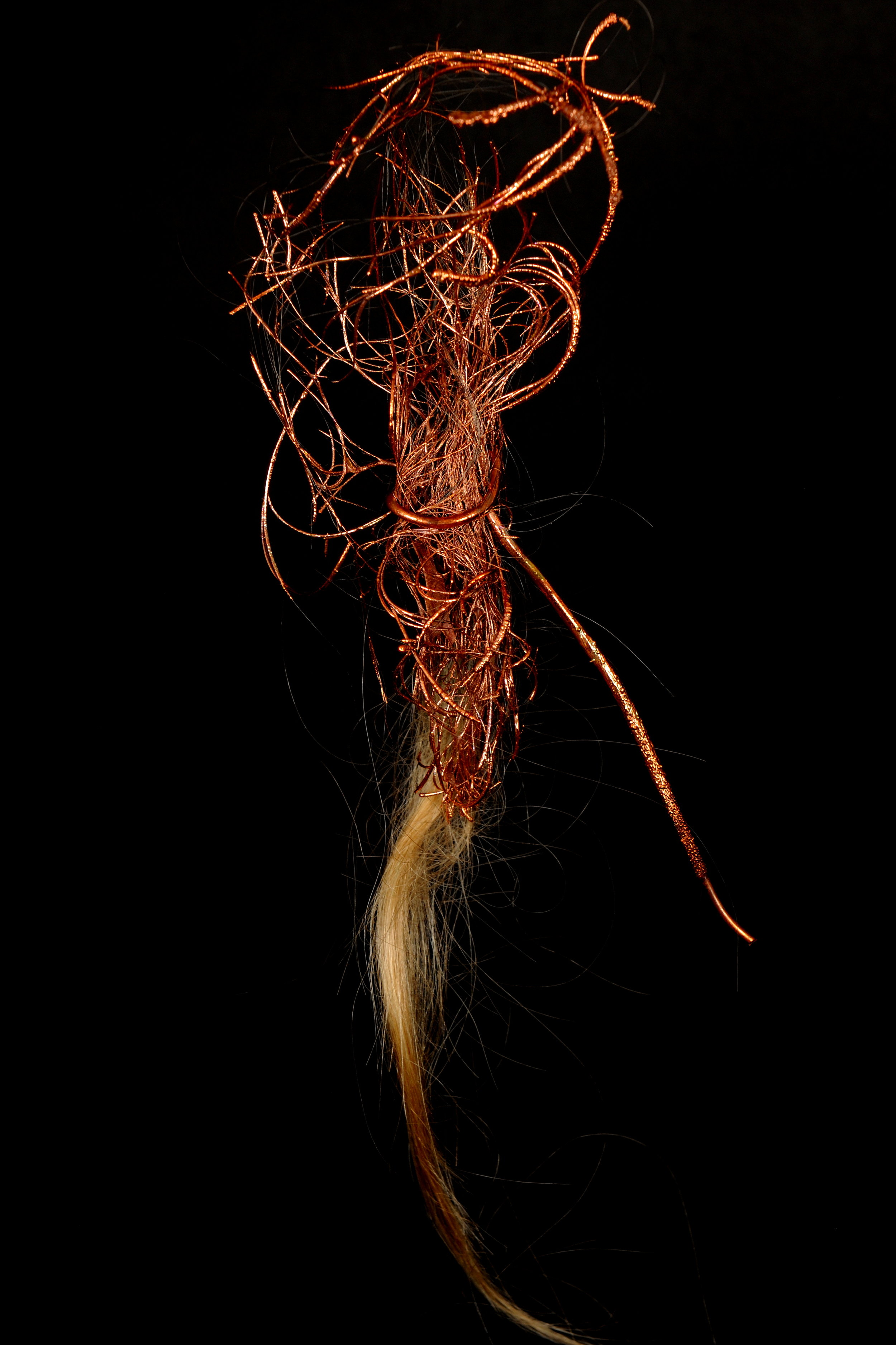 9. Transmuted State of Being 1-3, 2016. Dimensions 23 cm x 7 cm_ copper electrodeposition, artist's hair. Image Credit Nu Image.JPG